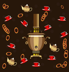 samovar cups of tea and bagels for tea vector image