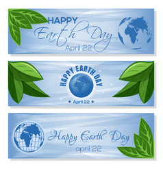 Set light blue banners for earth day april 22 vector