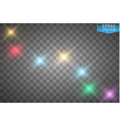 Set of color lights flares isolated on vector