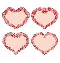 set of ornate heart frames vector image