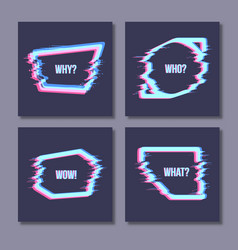 set of simple geometric form with glitch effect vector image
