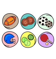 Set of Sports Equipment on Round Background vector image