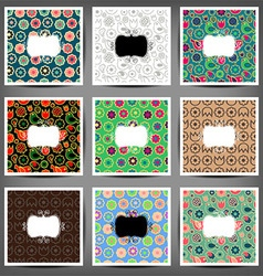 set seamless patterns flowers and birds vector image