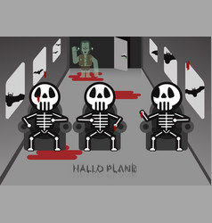 Skeleton sit on chair in airplane room with vector