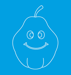 Smiling quince fruit icon outline vector