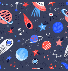 space hand drawn color seamless pattern vector image