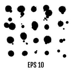 splatter set black splatters isolated on white vector image