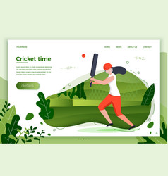 Sporty girl playing cricket vector