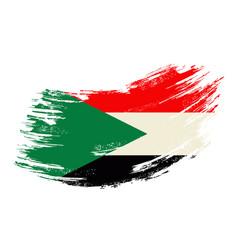 sudanese flag grunge brush background vector image