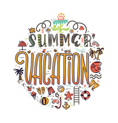 summer vacation and set of summer colored icons in vector image