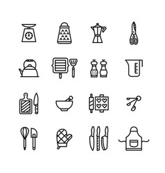 thin line editable stroke kitchen utensils icons vector image