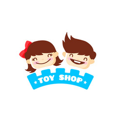 Toy store logo cute kids shop symbol vector