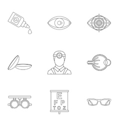 Treatment vision icons set outline style vector image
