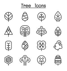 Tree icon set in thin line style vector
