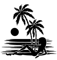 Tropics a palm trees vector