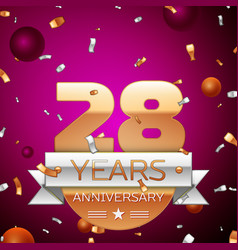 Twenty eight years anniversary celebration design vector