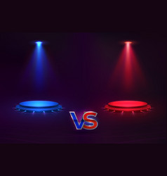 versus concept glowing pedestal hologram game vector image