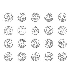 Wave simple black line icons set vector