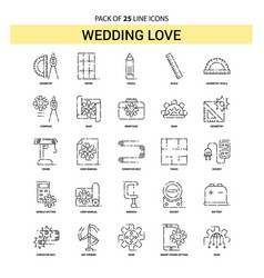 Wedding love line icon set - 25 dashed outline vector