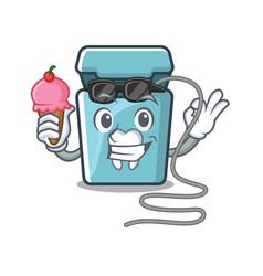 With ice cream dental floss in cartoon shape vector