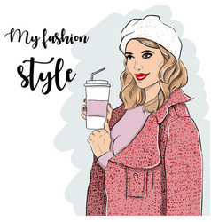 woman in pink coat and coffee in hand vector image