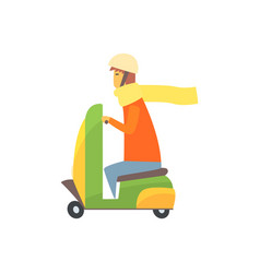 Young man riding scooter cartoon vector