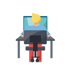 young man working on computer vector image