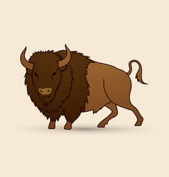 big buffalo standing graphic vector image