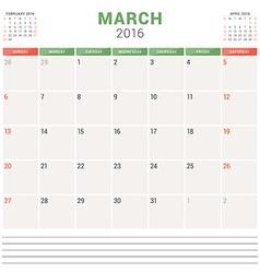 Calendar Planner 2016 Flat Design Template March vector image