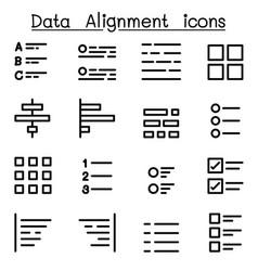 data alignment icon set vector image