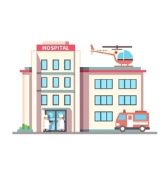 Hospital building flat style vector image vector image
