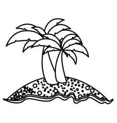 monochrome contour of island with two palms vector image vector image