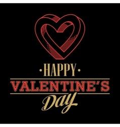 Retro Valentine day card vith line heart icon vector image