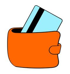 wallet with credit card icon cartoon vector image vector image