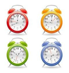 Alarm clock icon set in red vector