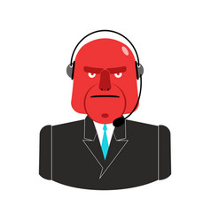 angry call center red man with headset aggressive vector image vector image