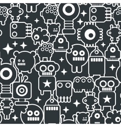 Black and white seamless background with monsters vector image
