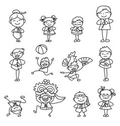 cartoon character Chinese people and kids vector image vector image