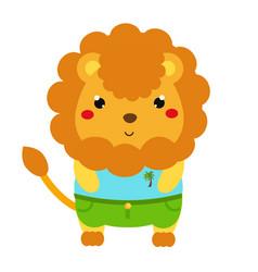 cute lion cartoon kawaii animal character in vector image