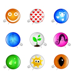 happy pins badges vector image