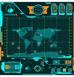 Hud navigation map screen elements vector