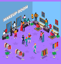 makeup room with mannequins isometric vector image vector image