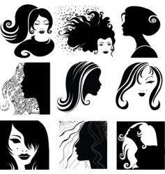 portrait silhouettes vector image vector image