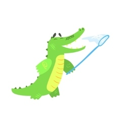 Crocodile Catching Butterflies With Net Humanized vector image