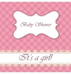 Polka dot flowers baby shower girl vintage vector