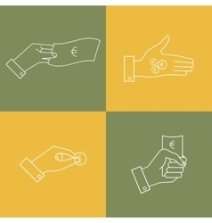 set of business icons Linear hands with vector image vector image