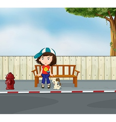 A girl and a dog sitting along the road vector image vector image