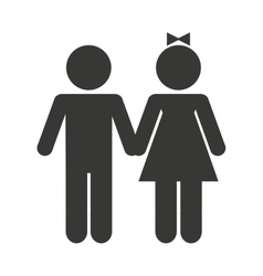 couple silhouette isolated icon vector image