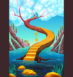 golden stair with key vector image vector image