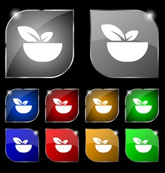 Organic food icon sign Set of ten colorful buttons vector image vector image